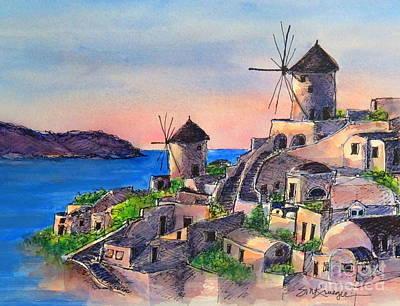 Painting - Santorini Windmills by Suzanne Krueger