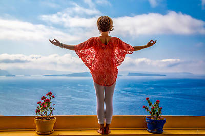 Photograph - Santorini Yoga Goddess by Stuart Smith