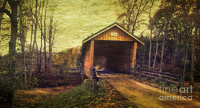 Santoy Covered Bridge #35-58-38 Morgan County Ohio Art Print by Robert Gardner
