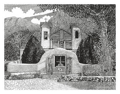 Drawing - Santuario De Chimayo by Jack Pumphrey