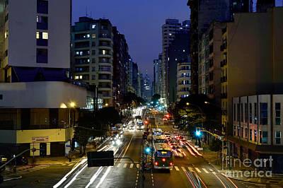 Tool Paintings - Sao Paulo, Brazil - Avenida Sao Joao at Dusk by Carlos Alkmin
