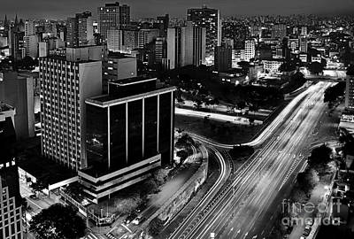 Photograph - Sao Paulo, Brazil - Central Expressways By Night by Carlos Alkmin