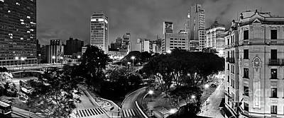 Photograph - Sao Paulo Downtown At Night In Black And White - Correio Square by Carlos Alkmin