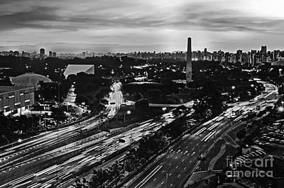 Photograph - Sao Paulo Skyline - Ibirapuera And Obelisk - Black And White by Carlos Alkmin