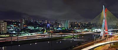 Photograph - Sao Paulo Skyline - Ponte Estaiada Octavio Frias De Oliveira Wit by Carlos Alkmin