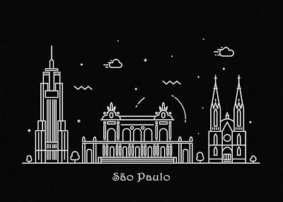 Drawing - Sao Paulo Skyline Travel Poster by Inspirowl Design