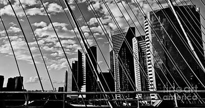 Photograph - Sao Paulo - Stayed Bridge Ponte Estaiada Bw by Carlos Alkmin
