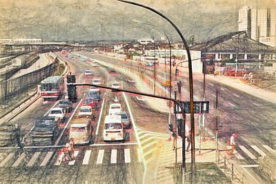 Crosswalk Mixed Media - Sao Paulo Traffic - 1982 by Steve Ohlsen