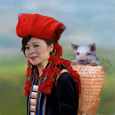 Sapa Girl And Her Pig - New Art Print by Thanh Thuy Nguyen