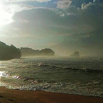 Shiny Morning After Nightly Storm In Shore Of Kedung Celeng,malang,east Java Original