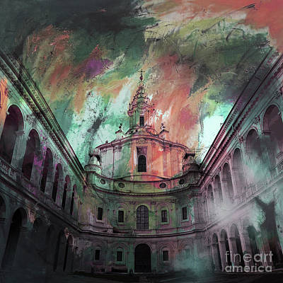 Painting - Sapienza Courtyard 01 by Gull G