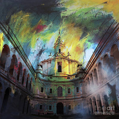 Painting - Sapienza Courtyard 04 by Gull G