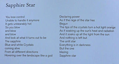Photograph - Sapphiire Star Poem by Allen Beatty
