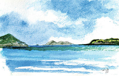 Painting - Sapphire Bay Towards Tortolla by Paul Gaj