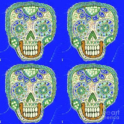 Mixed Media - Sapphire Sage Dod Sugar Skull by Sandra Silberzweig
