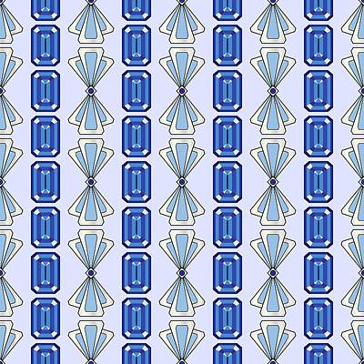 Digital Art - Sapphire Deco Stripe by MM Anderson