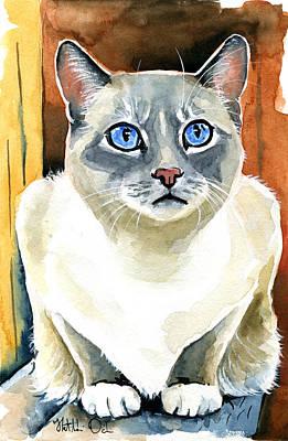 Painting - Sapphire Eyes - Snowshoe Siamese Cat Portrait by Dora Hathazi Mendes
