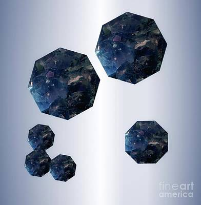 Mixed Media - Sapphire Octagons by Rachel Hannah