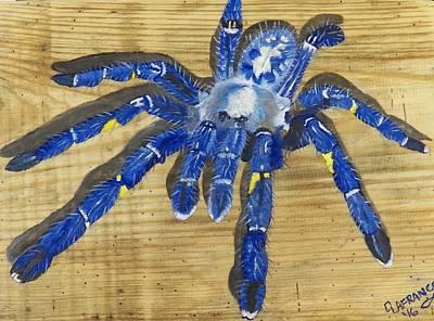 Tarantula Painting - Sapphire Ornamental Tarantula by Debbie LaFrance