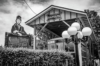 Photograph - Sapulpa Oklahoma Route 66 Trolley And Rail - Black And White by Gregory Ballos