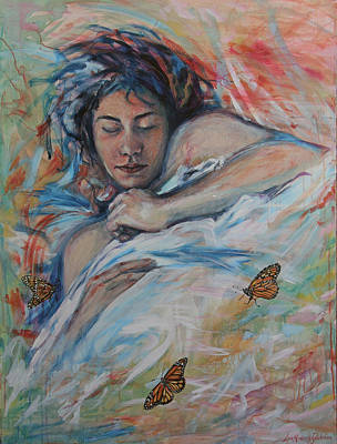 Painting - Sarah And Her Monarchs by Lisa Kimberly Glickman