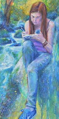 Wall Art - Painting - Sarah By The Stream by Paula Noblitt