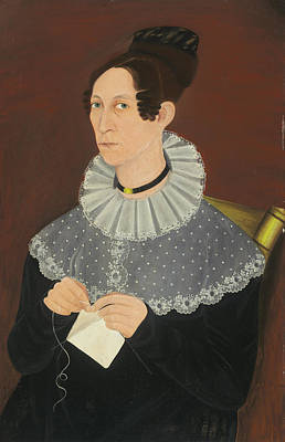 Painting - Sarah Cook Arnold Knitting by American 19th Century