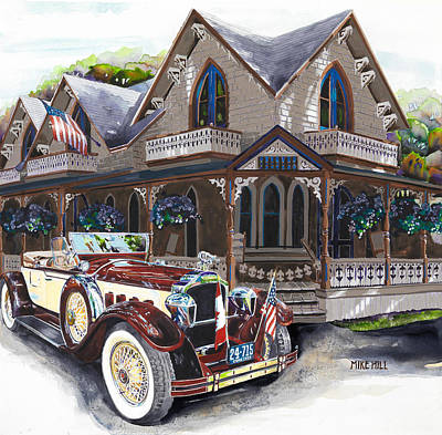 Convertible Painting - Sarah Elizah The Packard by Mike Hill