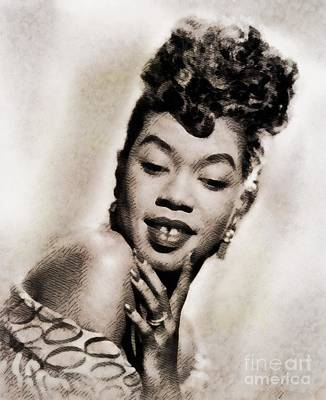 Jazz Royalty-Free and Rights-Managed Images - Sarah Vaughan, Vintage Jazz Singer by John Springfield by John Springfield