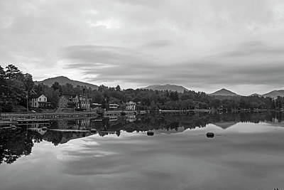 Photograph - Saranac Lake At Sunrise Ny Black And White by Toby McGuire