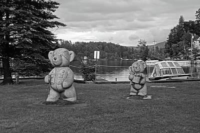 Photograph - Saranac Lake Fishing Bears Ny New York Black And White by Toby McGuire
