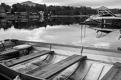 Photograph - Saranac Lake Rowboat Ny New York Black And White by Toby McGuire