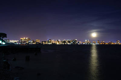 Photograph - Sarasota Cityscape-night-full Moon 2 by John Myers