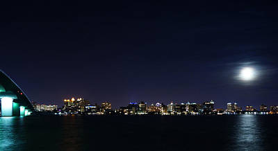 Photograph - Sarasota Cityscape-night-full Moon by John Myers