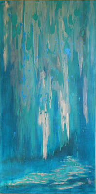 Wall Art - Painting - Sarasota Waterfall by Laura Gabel