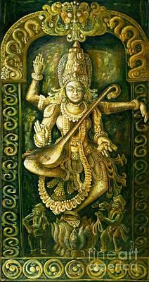 Swan Goddess Painting - Saraswathi Stone Relief by Murali Surya