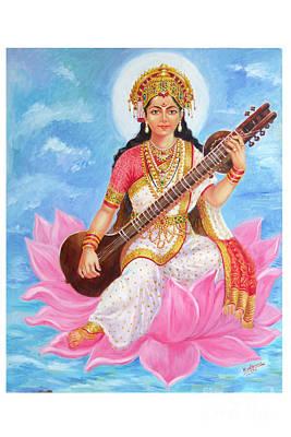 Goddess Jewellery Painting - Saraswati Devi by Kalpana Talpade Ranadive