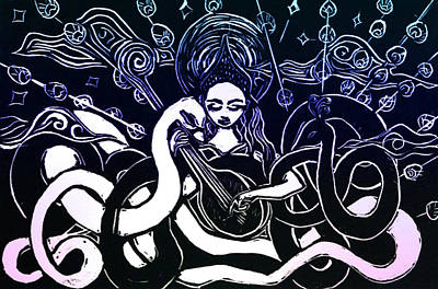 Hindu Goddess Drawing - Saraswati, Goddess Of Wisdom by Solveig Swenson
