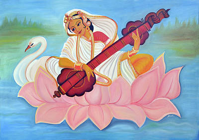 Swan Goddess Painting - Saraswati by Shruti Prasad