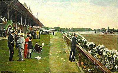Saratoga Racetrack And Grandstand In 1905 Art Print