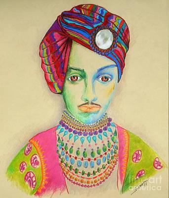 Sardar C. 1900 -- Colorful Indian Maharajah Portrait Original