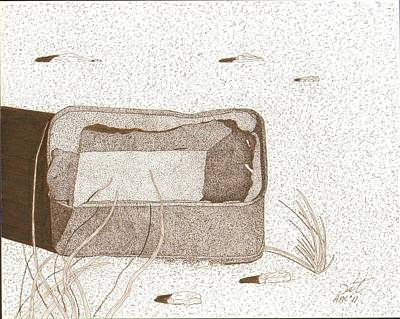 Sepia Ink Drawing - Sardine Can by Pat Price