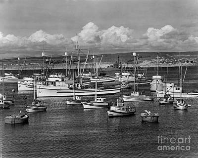 Photograph - Sardine Purse Seiners Fishing Fleet At Anchor, Monterey Bay Circa 1945 by California Views Mr Pat Hathaway Archives