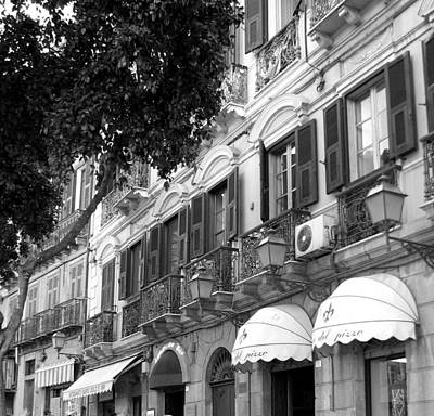 Photograph - Sardinian Balconies In Black And White by Carla Parris
