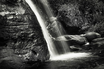 Photograph - Saree Ella Cascade. Monochrome. Sri Lanka by Jenny Rainbow