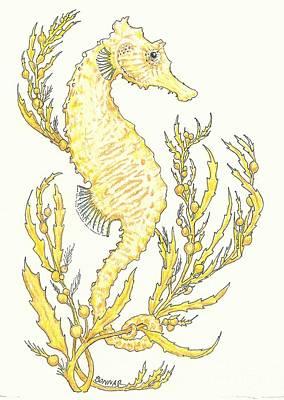 Animals Drawings - Sargasso Seahorse by Sue Bonnar