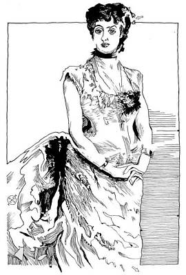 Gary Peterson Drawing - Sargent Madame Poirson by Gary Peterson