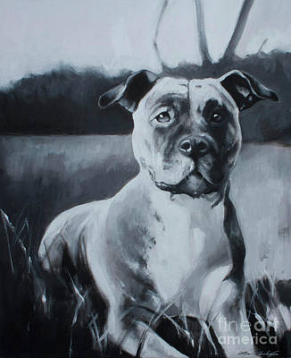 Puppy Dog Eyes Painting - Sasha - The Third  by Lin Petershagen