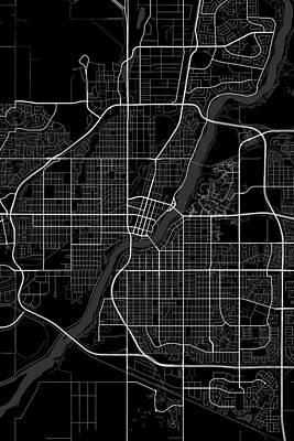 Impressionist Landscapes - Saskatoon Canada Dark Map by Jurq Studio