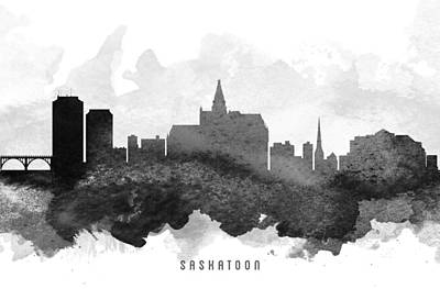 Saskatchewan Painting - Saskatoon Cityscape 11 by Aged Pixel